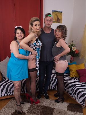 Three Wives and a young cock